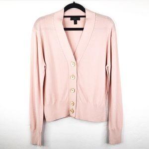 J.Crew Pink Button Front Lightweight Cardigan